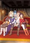 1boy 3girls aqua_(konosuba) blonde_hair blue_hair blush brown_hair closed_eyes couch darkness_(konosuba) drooling full_body harem hat head_on_another's_shoulder megumin multiple_girls on_couch open_mouth saliva satou_kazuma sitting sleeping smile wizard_hat