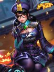 1girl alternate_costume black_hair blood blush_stickers chinese_clothes fangs finger_to_mouth glasses jack-o'-lantern jiangshi jiangshi_mei liang_xing looking_at_viewer low_twintails mei_(overwatch) ofuda overwatch parted_lips pumpkin sitting solo twintails