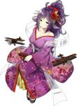 1girl ahoge aircraft alternate_costume alternate_hairstyle azur_lane b1m breasts brown_eyes chocolate chocolate_heart cleavage flower hagoromo hair_flower hair_ornament heart houshou_(azur_lane) japanese_clothes kimono large_breasts off_shoulder official_art purple_hair shawl simple_background sky_(freedom) smile socks solo transparent_background