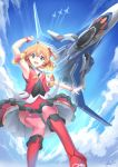 canards clouds condensation_trail dress flying freyja_wion macross macross_delta mecha mystic-san science_fiction signature skirt songstress variable_fighter vf-31 vf-31j