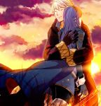 1boy 1girl blue_hair blush cape closed_eyes couple fingerless_gloves fire_emblem fire_emblem:_kakusei fire_emblem_musou gloves hetero long_hair lucina male_my_unit_(fire_emblem:_kakusei) mejiro my_unit_(fire_emblem:_kakusei) short_hair smile sun sunset tiara white_hair