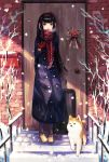 1girl :d bare_tree black_hair brown_eyes brown_footwear checkered_scarf door earmuffs full_body gloves headband highres long_hair looking_at_viewer luggage mailbox nomuraumu open_mouth original outdoors red_gloves red_scarf scarf shiba_inu smile snowing stairs standing tree winter_clothes wreath