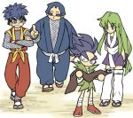 1girl 3boys arms_behind_back blue_eyes blue_hair bodysuit breasts closed_eyes crossed_arms dirt ebisumaru facepaint fishnet_armwear fishnet_bodysuit fishnets ganbare_goemon goemon green_eyes green_hair japanese_clothes kimono long_hair looking_down low-tied_long_hair makeup map mask mechanical_hands multiple_boys ninja robot_ears sandals sash sasuke_(ganbare_goemon) short_hair short_kimono tabi thick_eyebrows topknot user_symz7244 very_long_hair walking yae_(ganbare_goemon)