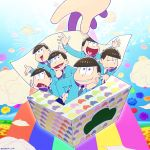 6+boys black_hair chin_rest chin_stroking flower formal hand_on_hip heart heart_in_mouth index_finger_raised kun_shi_ayauku_mo_chikou_yore looking_at_viewer male_focus matsu_symbol matsuno_choromatsu matsuno_ichimatsu matsuno_juushimatsu matsuno_karamatsu matsuno_osomatsu matsuno_todomatsu multiple_boys osomatsu-kun osomatsu-san rainbow sextuplets short_hair show_chiku-by shrug smile suit tissue_box triangle_mouth twitter_username used_tissue