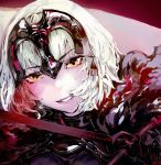 absurdres bangs cape close-up diadem eyebrows_visible_through_hair face fate/grand_order fate_(series) fur_trim highres holding holding_sword holding_weapon jeanne_alter looking_at_viewer pink_lips ruler_(fate/apocrypha) ryono_mizuki smile sword weapon white_hair yellow_eyes