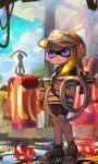 1girl bike_shorts black_footwear black_shorts blonde_hair blue_eyes blue_sky closed_mouth clouds commentary_request day domino_mask full_body gas_station goo_tuber_(splatoon) hat highres holding holding_weapon inkling kashu_(hizake) lace long_hair looking_away mask monster_girl orange_hat outdoors pointy_ears puddle shirt shoes short_eyebrows short_sleeves shorts sky smile sneakers solo splatoon splatoon_2 standing striped striped_shirt tentacle_hair visor_cap weapon