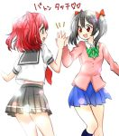 black_hair commentary_request green_eyes high_five highres kurosawa_ruby love_live! love_live!_school_idol_project love_live!_sunshine!! red_eyes redhead rinne_(mizunosato) short_twintails twintails yazawa_nico