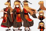1girl :d alternate_hairstyle chinese_clothes dated dress dress_shoes hair_ornament hair_rings hair_stick hat highres junko_(touhou) long_hair long_sleeves multiple_views neck_ribbon no_headwear open_mouth orange_hair red_eyes ribbon rolling_sleeves_up sameya sash simple_background smile tabard tassel touhou translation_request wide_sleeves