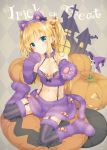 1girl animal_ears argyle argyle_background bangs blonde_hair blue_eyes blush cat_ears cat_tail closed_mouth fake_animal_ears fur_trim halloween hand_up jack-o'-lantern looking_at_viewer midriff navel original outstretched_arm paws peko pillow pumpkin purple_skirt shimotsuki_potofu sitting skirt solo striped striped_legwear suspenders tail trick_or_treat two_side_up vertical-striped_legwear vertical_stripes wariza