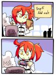 1girl 2koma ahoge cellphone comic cooking fate/grand_order fate_(series) fujimaru_ritsuka_(female) hair_ornament hair_scrunchie kitchen ladle one_side_up orange_eyes orange_hair phone pot scrunchie setz side_ponytail smartphone solo