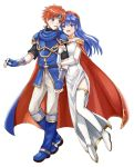 1boy 1girl armor blue_eyes blue_hair blush cape couple dress fire_emblem fire_emblem:_fuuin_no_tsurugi full_body gloves hat hetero lilina long_hair open_mouth redhead roy_(fire_emblem) short_hair simple_background smile white_background wspread