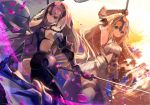 2girls armpits blonde_hair blue_eyes commentary_request dual_persona fate/apocrypha fate/grand_order fate_(series) flag grey_eyes headpiece holding jeanne_alter long_hair looking_at_viewer multiple_girls nekoboshi_sakko petals ruler_(fate/apocrypha) silver_hair sword weapon wind