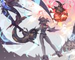 2boys 4girls ass battle blue_eyes delphox diggersby glasses green_hat hair_over_eyes hat headpiece highres lemming_no_suana malamar midair multiple_boys multiple_girls personification pokemon red_eyes standing sylveon