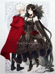 1boy 1girl assassin_of_red bare_shoulders black_dress black_hair boots breasts bridal_gauntlets cape cleavage copyright_name dark_skin dress earrings elbow_gloves fate/apocrypha fate_(series) fur_trim gloves hand_on_another's_shoulder high_heel_boots high_heels highres jewelry kotomine_shirou large_breasts long_hair looking_at_viewer pointy_ears smile strsouko very_long_hair white_hair yellow_eyes