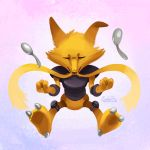 alakazam closed_eyes eric_proctor facing_viewer floating full_body no_humans pokemon pokemon_(creature) psychic signature solo spoon