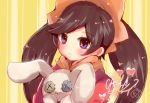 1girl alternate_eye_color ashley_(warioware) bangs black_hair blush button_eyes character_name closed_mouth commentary_request dress eyebrows_visible_through_hair hairband heart herunia_kokuoji holding holding_stuffed_animal long_hair long_sleeves looking_at_viewer neckerchief orange_hairband orange_neckwear portrait red_dress signature solo striped stuffed_animal stuffed_bunny stuffed_toy swept_bangs twintails vertical-striped_background vertical_stripes violet_eyes warioware yellow_background