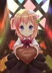1girl bangs black_skirt blush bow bowtie chocolate chocolate_heart closed_mouth collared_shirt commentary english eyebrows_visible_through_hair food foreshortening gochuumon_wa_usagi_desu_ka? hair_bobbles hair_ornament hairclip heart highres holding holding_food hoto_cocoa incoming_gift indoors long_hair long_sleeves looking_at_viewer one_side_up orange_hair pink_vest rabbit_house_uniform red_neckwear shirt skirt smile solo standing valentine violet_eyes white_shirt wing_collar wooden_floor youthpaint