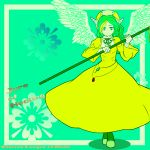 1girl :| angel_wings aqua_background aqua_eyes blonde_hair buttons character_name choker closed_mouth copyright_name dress elona english eyebrows eyelashes facing_viewer feathered_wings feathers flat_chest flat_color floral_background flower full_body gem goddess green_footwear green_hair green_legwear green_neckwear green_ribbon hat head_wings high_contrast highres holding holding_spear holding_weapon juliet_sleeves jure_of_healing lace lace-trimmed_dress lace-trimmed_sleeves lace_trim legs_crossed long_hair long_sleeves looking_at_viewer multicolored_hair pantyhose polearm puffy_long_sleeves puffy_sleeves ribbon ribbon-trimmed_clothes ribbon-trimmed_shoes ribbon_choker ribbon_trim shadow shoes shunkichi sleeves_past_wrists solo spear text turtleneck two-tone_hair watson_cross wavy_hair weapon white_wings wide_sleeves wings yellow_dress yellow_hat