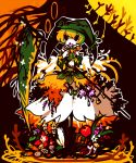 1boy :o adapted_costume alternate_costume alternate_eye_color androgynous angel_wings apple bangs bare_shoulders berries black_eyes black_ribbon blonde_hair bob_cut boots carrot chestnut_mouth corset crossdressing detached_sleeves elona facing_viewer feathered_wings feathers flower flower_necklace food fruit full_body god green_hat green_shirt hair_between_eyes hat holding holding_flower holding_scythe holding_weapon jester_cap jewelry karasuuri_(catamari_va) kumiromi_of_harvest leaf long_sleeves necklace no_nose open_mouth outline plant ribbon scythe shirt short_hair skirt sleeveless sleeveless_shirt sleeves_past_wrists solo standing turtleneck vines weapon wheat white_outline white_skirt white_wings wings