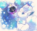 :d :o ^_^ ^o^ alola_form alolan_vulpix blue_eyes blush closed_eyes cosmog floating full_body happy kemoribon light_particles no_humans open_mouth parted_lips paws pokemon pokemon_(creature) pokemon_(game) pokemon_sm smile standing star