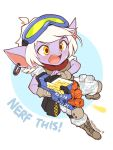 ! 1girl alternate_costume blush english full_body gun highres league_of_legends nestkeeper open_mouth red_scarf scarf short_hair simple_background solo text tristana weapon white_background white_hair yellow_eyes yordle