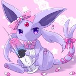 bandage bow cross earrings espeon forehead_jewel forked_tail heart holding jewelry kemoribon looking_at_viewer no_humans paws pill pink_background pink_bow pink_neckwear pokemon sitting star syringe tail tears violet_eyes