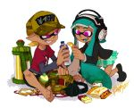 artist_name bandaid bangs barefoot baseball_cap black_jacket black_legwear blazer blunt_bangs bottle cellphone dark_skin fang fanny_pack green_hair green_skirt green_tongue grin hat headphones holding ink_tank_(splatoon) inkling isamu-ki_(yuuki) jacket kneeling komi_(isamu-ki) long_sleeves looking_at_another miniskirt original phone plaid plaid_skirt pleated_skirt school_uniform sharp_teeth short_hair signature sitting skirt smartphone smile socks splatoon teeth tentacle_hair violet_eyes water_bottle white_background yen_(isamu-ki) yen_sign