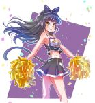 1girl black_hair blake_belladonna bow cat_tail cheerleader commentary english glitter hair_bow highres iesupa pom_poms rwby smile tail yellow_eyes