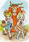 3girls blonde_hair blue_sky boots carrot clenched_hand clenched_teeth crying cuphead_(game) dress earthworm extra_eyes fence full_body genderswap genderswap_(mtf) gloves long_hair looking_at_viewer moe_tato multiple_girls oimo_(14sainobba) orange_hair overalls personification psycarrot puffy_short_sleeves puffy_sleeves ringed_eyes short_hair short_sleeves sky teeth weepy yellow_eyes