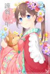1girl animal blue_eyes blush brown_hair chitetan closed_eyes dog flower hair_flower hair_ornament holding holding_animal japanese_clothes kimono long_hair looking_at_viewer nengajou new_year original ponytail smile twintails wide_sleeves