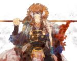 1boy armor asama_(fire_emblem_if) blood blood_on_face bloody_clothes bloody_weapon blue_hair fire_emblem fire_emblem_if holding holding_weapon looking_at_viewer setsuna_(fire_emblem_if) shourou_kanna simple_background solo wavy_hair weapon white_background