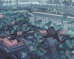1girl back background black_cat black_hair blue_shirt brush_stroke cat farm farming klegsart plant pumpkin shirt