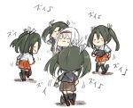 5girls absurdres armor armored_boots blush boots brown_hakama closed_eyes commentary_request dancing full_body green_hair grey_hair hair_between_eyes hair_ribbon hairband hakama hakama_skirt hibari_(horse809cat) highres japanese_clothes kantai_collection kimono long_hair multiple_girls multiple_persona muneate red_hakama remodel_(kantai_collection) ribbon shadow short_sleeves shoukaku_(kantai_collection) simple_background sweatdrop twintails white_background white_hair white_ribbon zui_zui_dance zuikaku_(kantai_collection)