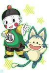 1boy animal artist_signature blush_stickers cat chaozu china_dress chinese_clothes dragon_ball dress happy hat looking_at_viewer open_clothes pale_skin puar simple_background smile star waving white_background