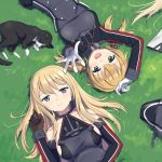 3girls :d bare_shoulders bismarck_(kantai_collection) black_skirt blonde_hair blue_eyes brown_gloves cat cnm detached_sleeves gloves graf_zeppelin_(kantai_collection) green_eyes hair_between_eyes kantai_collection long_hair long_sleeves low_twintails military military_uniform multiple_girls no_hat no_headwear open_mouth pleated_skirt prinz_eugen_(kantai_collection) skirt smile twintails uniform unsinkable_sam white_gloves