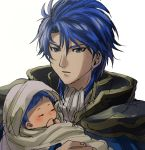 2boys armor baby blue_eyes blue_hair cape celice_(fire_emblem) father_and_daughter fire_emblem fire_emblem:_seisen_no_keifu fire_emblem_heroes looking_at_viewer multiple_boys short_hair sigurd_(fire_emblem) younger