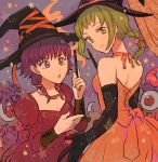 2girls braid elbow_gloves fire_emblem fire_emblem:_seima_no_kouseki gloves green_hair grey_eyes halloween halloween_costume hat looking_at_viewer lute_(fire_emblem) multiple_girls ponytail purple_hair smile vanessa_(fire_emblem) violet_eyes wand witch witch_hat