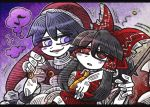 2girls al_bhed_eyes bangs black_hair blue_eyes blue_hair blunt_bangs blush_stickers bow detached_sleeves doremy_sweet eyebrows_visible_through_hair frilled_bow frills gohei hair_between_eyes hair_bow hair_tubes hakurei_reimu hand_around_neck hat hypnosis line_shading mind_control multiple_girls musical_note nightcap open_mouth pom_pom_(clothes) quaver red_bow red_eyes red_hat sidelocks sleepy smile suenari_(peace) touhou turtleneck two-tone_background white_skin wide_sleeves