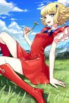 1girl 70s arm_support bangs blonde_hair blue_eyes boots bow clouds curly_hair day dress flower fushoku grass hair_ornament hairpin hana_no_ko_lunlun knee_boots looking_at_viewer lunlun magical_girl mountain open_mouth outdoors red_dress red_footwear short_dress short_hair sitting sky smile solo