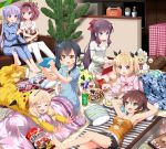 >:o >:| 6+girls :d :o annoyed armpits arms_behind_head barefoot black_hair blonde_hair blue_eyes bottle bow bowl braid brown_eyes brown_hair cactus can candy cellphone closed_eyes commentary_request couch doughnut feet food green_eyes hair_bobbles hair_bow hair_ornament hairband highres iijima_yun indoors long_hair looking_at_another lying manga_(object) mochizuki_momiji multiple_girls narumi_tsubame new_game! notebook on_back open_mouth pastry_box phone pikachu_costume pillow plant ponytail potted_plant purple_hair ruu_(tksymkw) sakura_nene shinoda_hajime short_hair short_twintails side_ponytail sitting sleepover smile soujirou_(new_game!) suzukaze_aoba takimoto_hifumi twintails violet_eyes yellow_eyes