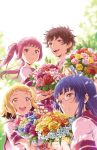 1boy 3girls :d backlighting bangs blonde_hair blue_eyes blue_hair blue_rose blunt_bangs bouquet brown_eyes brown_hair cherry_teacher_sakura_naoki closed_mouth commentary_request flower glasses hair_flower hair_ornament hair_ribbon hairclip holding holding_bouquet long_hair looking_at_viewer multiple_girls official_art open_mouth orange_rose petals pink-framed_eyewear pink_eyes pink_hair pink_rose purple_rose red_rose ribbon rose round_teeth school_uniform serafuku short_hair short_sleeves smile teeth twintails wind yellow_eyes yellow_rose