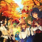 6+girls aki_minoriko aki_shizuha animal_print apron aqua_hair autumn autumn_leaves backpack bag barefoot black_hair black_hat black_skirt blonde_hair blue_hair blue_skirt brown_hat commentary_request day dress frog_hair_ornament frog_print green_eyes green_hair green_hat hair_bobbles hair_ornament hair_ribbon hair_tubes hakurei_reimu hands_in_sleeves hat in_tree inubashiri_momiji kagiyama_hina kawashiro_nitori key kirisame_marisa kochiya_sanae long_hair miniskirt mirror moriya_suwako mountain_of_faith multiple_girls outdoors pocket pointy_ears pom_pom_(clothes) puffy_short_sleeves puffy_sleeves purple_skirt red_dress red_eyes red_ribbon red_skirt ribbon rope shameimaru_aya shimenawa shoes short_hair short_sleeves sitting sitting_in_tree skirt skirt_set sleeves_past_wrists smile socks tokin_hat touhou tree tress_ribbon two_side_up vest wataichi_meko white_hair white_legwear witch_hat yasaka_kanako yellow_eyes