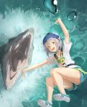 1girl alternate_costume anachronism blush bungee_jumping commentary_request falling from_above grey_eyes harness helmet highres idolmaster idolmaster_cinderella_girls jurassic_world kamemaru koshimizu_sachiko looking_at_viewer mosasaurus mouth open_mouth outstretched_arms purple_hair rope shirt shoes short_hair shorts sneakers t-shirt teardrop tears teeth water wavy_mouth