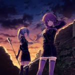 2girls adjusting_hair aiguillette arm_up bangs belt black_gloves black_legwear blue_eyes blue_hair breasts brick_wall broken_wall clouds commentary_request cowboy_shot crescent crescent_moon_pin double-breasted elbow_gloves floating_hair gloves gradient_sky hair_tubes hand_on_hip hatsune_miku highres holding legs_apart long_hair long_sleeves looking_at_viewer looking_to_the_side low_twintails microphone microphone_stand military military_uniform multiple_girls outdoors purple_hair purple_legwear short_sleeves sky standing striped striped_legwear twilight twintails uniform vertical-striped_legwear vertical_stripes violet_eyes vocaloid voiceroid wind yuzuki_yukari