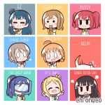 chroneco kunikida_hanamaru kurosawa_dia kurosawa_ruby love_live! love_live!_sunshine!! matsuura_kanan multicolored multicolored_background multiple_girls ohara_mari sakurauchi_riko shiitake_(love_live!_sunshine!!) takami_chika tsushima_yoshiko watanabe_you