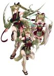 3girls :d absurdres animal_ears arm_blade armpits bare_shoulders blade blush breasts clenched_hands closed_mouth detached_sleeves eyebrows_visible_through_hair eyes_visible_through_hair fur green_hair grey_legwear hair_between_eyes hair_over_one_eye highres holding_pot japanese_clothes kamaitachi_(monster_girl_encyclopedia) kenkou_cross large_breasts legs long_hair long_sleeves looking_at_viewer magic medium_hair monster_girl_encyclopedia multiple_girls open_mouth orange_eyes pelvic_curtain ponytail pot sandals sash short_hair simple_background small_breasts smile standing standing_on_one_leg tabi tail thigh-highs twintails weapon white_background wide_sleeves