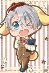 1boy ;d animal_ears big_cat_shan blue_eyes bow bowtie chibi cosplay dog_ears dog_tail heart-shaped_mouth male_focus menu one_eye_closed open_mouth pompompurin pompompurin_(cosplay) sanrio silver_hair smile striped striped_background tail viktor_nikiforov waistcoat waiter yuri!!!_on_ice