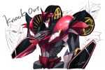 1boy character_name claws decepticon hand_on_own_chest highres knockout_(transformers) looking_at_viewer machine machinery mecha no_humans personification red_eyes robot simple_background smile solo standing tarai transformers transformers_prime upper_body wheels white_background