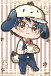 1boy :3 animal_hat big_cat_shan black_hair blue-framed_eyewear bow bowtie brown_eyes chibi cosplay cup dog_hat dog_tail glasses hat katsuki_yuuri male_focus pochacco pochacco_(cosplay) sanrio saucer striped striped_background tail teacup waistcoat waiter yuri!!!_on_ice
