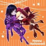 2girls alternate_costume black_hair blonde_hair blue_eyes book breasts brown_eyes brown_gloves capelet chibi earrings elbow_gloves empty_eyes eye_of_horus facial_mark facial_tattoo full_body gloves grey_skin hair_over_one_eye hair_tubes halloween halloween_costume hand_holding happy_halloween hat jack-o'-lantern jack-o'-lantern_earrings jewelry looking_at_another looking_at_viewer m-musume_(catbagel) mechanical_wings medium_breasts mercy_(overwatch) multiple_girls no_headwear no_helmet one_leg_raised orange_background outline overwatch pelvic_curtain pharah_(overwatch) possessed_pharah power_armor short_sleeves side_braids star tattoo thigh-highs wings witch witch_hat witch_mercy yuri